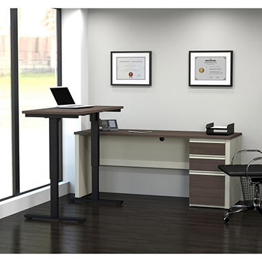 Bestar Prestige + OfficePro 99000 L-Desk with Electric Height Adjustable Table, White Chocolate/Antigua