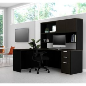 Bestar Pro-Concept  Plus L-Desk with Hutch, Select Color