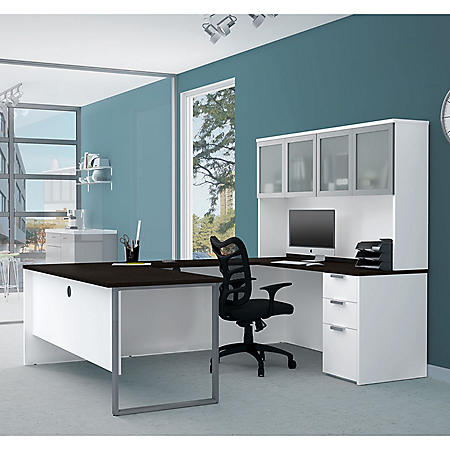 Bestar Pro-Concept  Plus U-Desk with Frosted Glass Door Hutch, Select Color