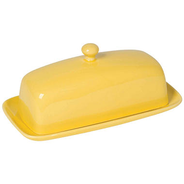 Now Designs Rectangular Butter Dish, Lemon Yellow