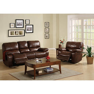 Carlson Leather Sofa Recliner Set