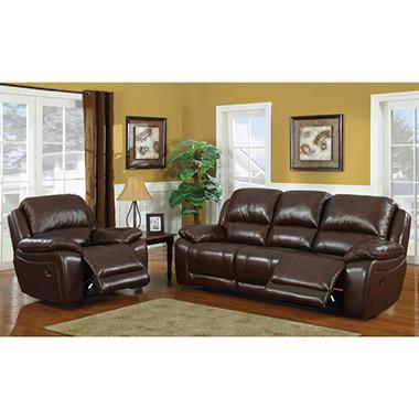 reagan leather motion sofa & recliner setdorel fine