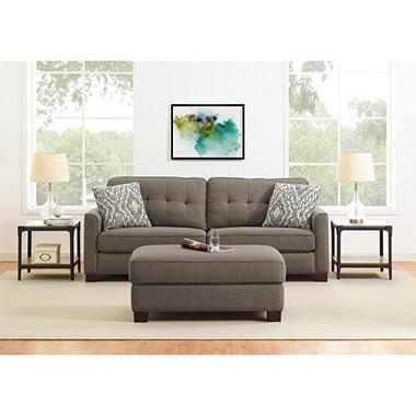 Braxton Sofa And Attachable Ottoman, Taupe
