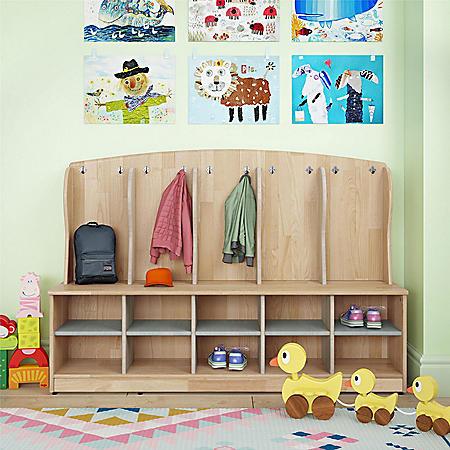 Bertini Kids Bear 5-Section Cubby Coat Locker, Natural, Gray