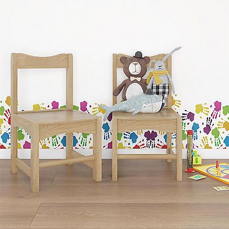 Bertini Kids Domino Solid Wood School Chairs, Natural (2-Pack)