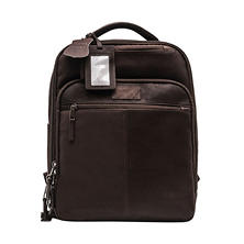Renwick Genuine Leather Backpack, Dark Brown