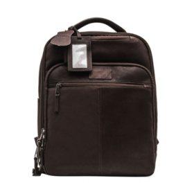 Renwick Genuine Leather Backpack, Dark Brown