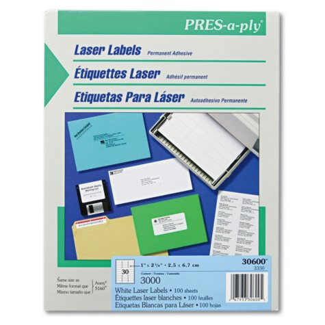 "Avery Pres-A-Ply - Laser Address Labels, 1 x 2-5/8"", White - 3,000 Labels"