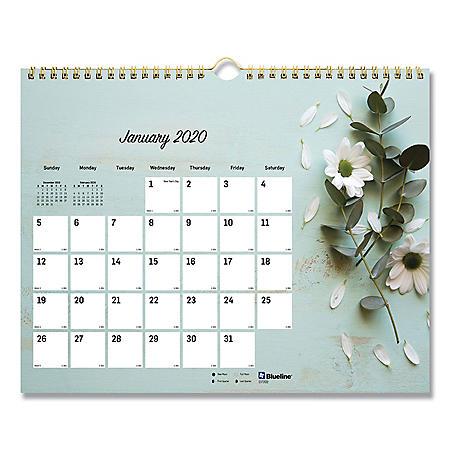 "Blueline Romantic Wall Calendar, Floral, 8"" x 11"", 2020"