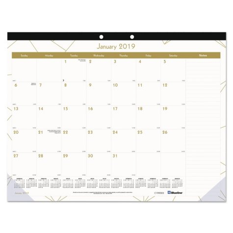 Blueline® Gold Collection Monthly Desk Pad, 22 x 17, 2019