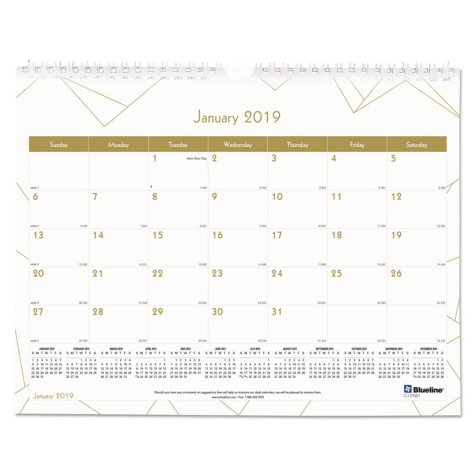 Blueline® Gold Collection Monthly Wall Calendar, 11 x 8, White and Gold, 2019