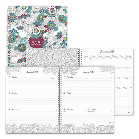 Blueline® Doodleplan Weekly/Monthly Appointment Book, 11 x 8 1/2, Botanica, 2019