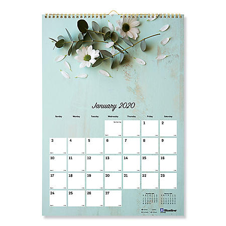 "Blueline One Month Per Page Twin Wirebound Wall Calendar, Romantic, 12"" x 17"", 2020"