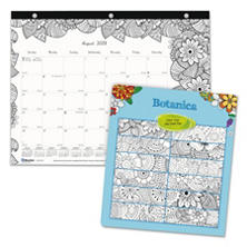Blueline® Academic Notebook/Desk Pad Calendar with Coloring Pages, 3-Hole Punched, 2016-2017