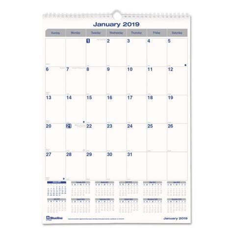 Blueline® Net Zero Carbon Monthly Wall Calendar, 17 x 12, 2019