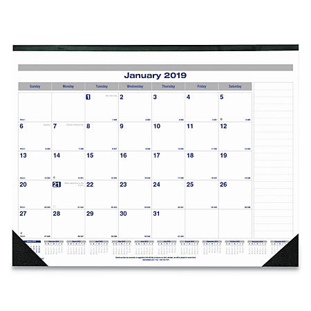 Blueline® Net Zero Carbon Monthly Desk Pad Calendar, 22 x 17, Black Band and Corners, 2019