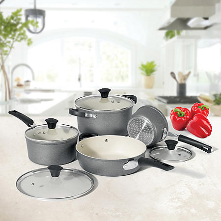 THE ROCK by Starfrit 8-Piece Cookware Set with Ceramic Coating