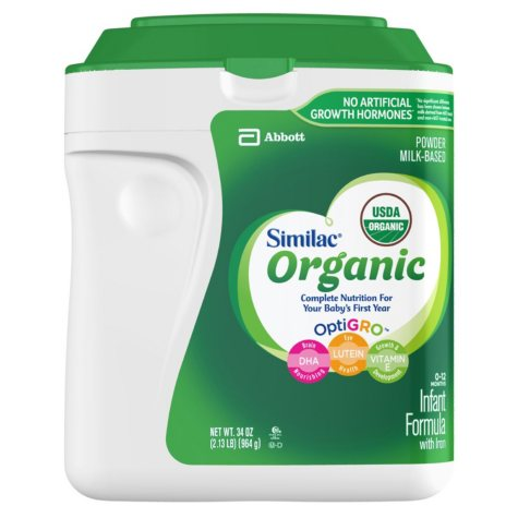 Similac Organic NON-GMO Infant Formula with Iron (34 oz.)