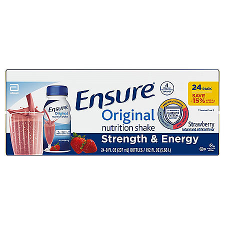 Ensure Original Nutrition Strawberry Meal Replacement Shakes with 9g of Protein (8 fl. oz., 24 ct.)