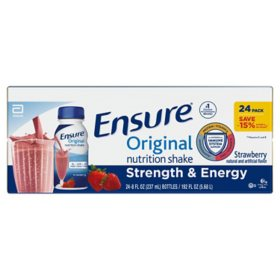 Ensure Original Nutrition Shake Strawberry Ready-to-Drink Meal Replacement Shakes (8 fl. oz., 24 ct.)