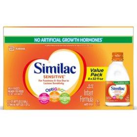 Similac Sensitive Ready to Feed Infant Formula with Iron (32 oz., 8 pk.)