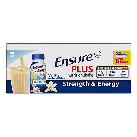 Ensure Plus Nutrition Vanilla Meal Replacement Shakes with 13g of Protein (8 oz. bottles, 24 pk.)