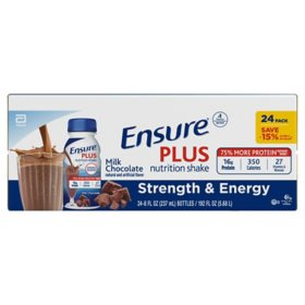 Ensure Plus Nutrition Shake Milk Chocolate Ready-to-Drink with 13 grams of protein, Meal Replacement Shakes (8 oz. bottle, 24 pk.)