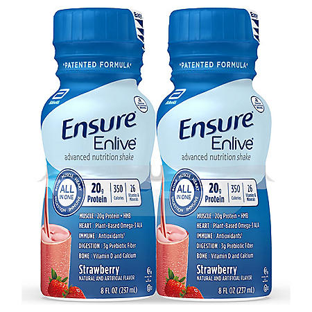 Ensure Enlive Advanced Nutrition Strawberry Meal Replacement Shakes with 20g of Protein (8 fl. oz., 16 ct.)