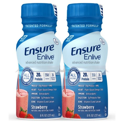 Ensure Enlive Advanced Nutrition Meal Replacement Shakes, Strawberry, (8 fl. oz., 16 ct.)