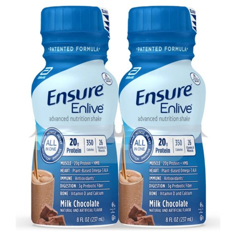 Ensure Enlive Advanced Nutrition Shake with 20 grams of High-Quality protein, Meal Replacement Shakes, Milk Chocolate  (8 fl. oz., 16 ct.)