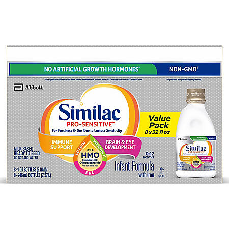 Similac Pro-Sensitive Ready-to-Feed Infant Formula with 2'-FL Human Milk Oligosaccharide (HMO) (32 fl. oz., 8 pk.)