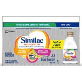 Similac Pro-Sensitive Ready-to-Feed Infant Formula with HMO (32 fl. oz., 8 pk.)