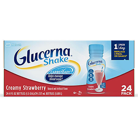 Glucerna, Diabetes Nutritional Shake, Creamy Strawberry (8 fl. oz., 24 ct.)