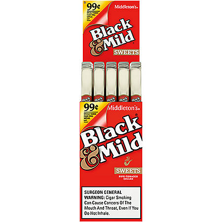 Black & Mild Sweets Plastic Tip Cigar, Upright, Pre-priced (1 pk., 25 ct.)