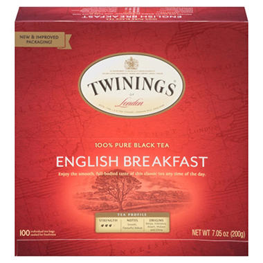 Twinings Tea, Earl Grey or English Breakfast (100 ct. bags)