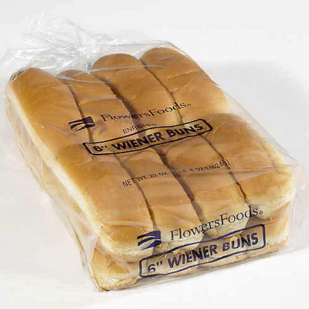 "Flowers Foods 6"" Hot Dog Buns - 16 ct."