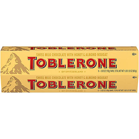 Toblerone Swiss Milk Chocolate with Honey and Almond Nougat (3.52 oz., 6 pk.)