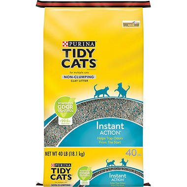 Tidy Cats Non-Clumping Cat Litter Instant Action for Multiple Cats, 40 lb