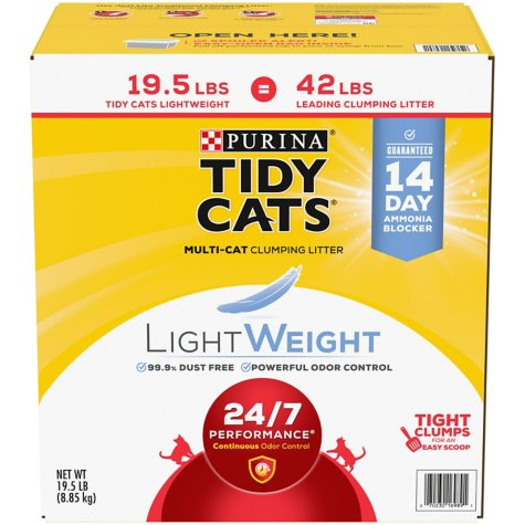 Purina Tidy Cats LightWeight 24/7 Performance for Multiple Cats Clumping Cat Litter (19.5 lbs.)