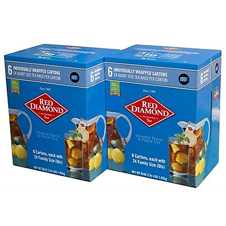 Red Diamond Family Size Tea Bags - 24 bags/pack - 6 pks.