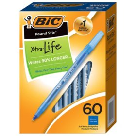 BIC® Round Stic Xtra Life Ballpoint, 1mm, Medium, Blue, 60ct.