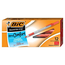 BIC Round Stic Grip Xtra Comfort Ballpoint Pen, Red Ink, 1.2mm, Medium, 12ct.