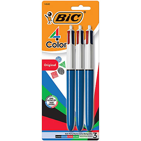 BIC 4-Color Retractable Ballpoint Pen, 1mm, Medium (3 pk.)