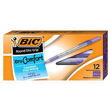 BIC® Round Stic Grip Xtra Comfort Ballpoint Pen, 1.2mm, Medium,  Purple Ink, 12ct.