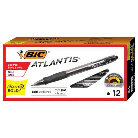 BIC® Velocity Retractable Ballpoint Pen, 1.6mm, Bold, Black, 12pk.