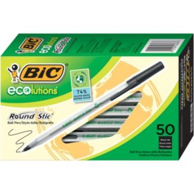 BIC® Ecolutions Round Stic Ballpoint Pen, 1mm, Medium, Black Ink, 50ct.