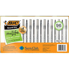 BIC Round Stic Xtra Life, Medium Point, 96ct., Select Color