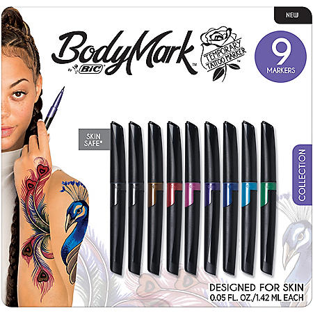BIC BodyMark Temporary Tattoo Marker Assorted Colors (9 pk.)