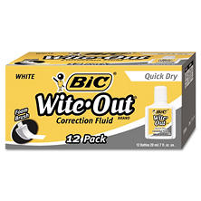 BIC? Wite-Out Quick Dry Correction Fluid, 20 ml Bottle, White, 12pk.