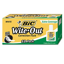 BIC® Wite-Out Extra Coverage Correction Fluid, 20 ml Bottle, White, 12pk.
